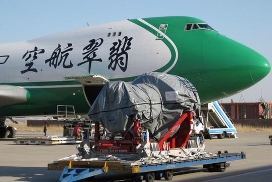 天津第一架空客A320下线飞机发动机运抵机场