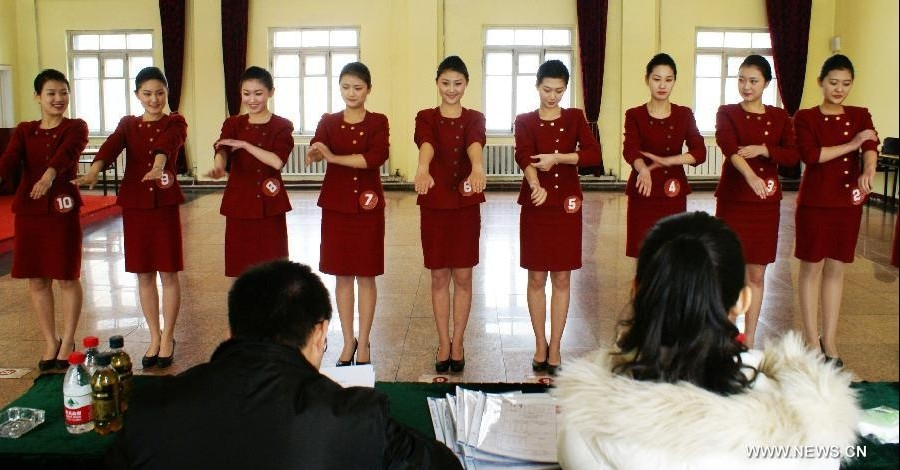 Flight Attendant Candidates Compete for Job