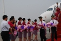 """The crew member got off from """"Happy Chongqing"""" aircraft after the plane made its first flight."""
