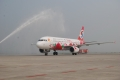 The aircraft was receiving a water arch salute.