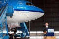 """Zhang Jun, Chinese ambassdor to the Netherlands, delivers a speech during a ceremony in the celebration of naming a new Boeing 777 of Royal Dutch Airlines(KLM) as """"Wolong National Park"""" in Amsterdam, on June 18, 2012. Wolong National Park is a nature reserve in Sichuan Province in southwest China. (Xinhua/Ding Chen)"""