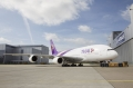 First THAI A380 rolls out of paint shop.