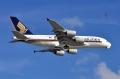 """图:新加坡航空9V-SKG号AIRBUS A380-841客机。<a href=http://pic.feeyo.com target=_blank>民航图库</a>图片,摄影:民航资源网网友""""<a href=http://pic.feeyo.com/photo.jsp?userid=55575 target=_blank>深圳蓝天</a>""""。(浏览作者图库原帖《<a href=http://pic.feeyo.com/posts/501/5013603.html target=_blank>[原创]【深圳飞友会】庆幸没有改风向,终于在07R拍A380起飞了!</a>》)"""
