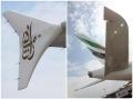 """图:阿联酋航空A6-EDK号A380客机的小翼(左)和尾翼(右)。<a href=http://pic.feeyo.com target=_blank>民航图库</a>图片,摄影:民航资源网网友""""<a href=http://pic.feeyo.com/photo.jsp?userid=11854 target=_blank>bigtree</a>""""。(浏览作者图库原帖《<a href=http://pic.feeyo.com/posts/504/5049593.html target=_blank>[原创]好久好久不上资源网了,发点阿联酋380首航北京的片子……</a>》)"""