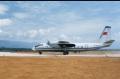 80年代初,安-24型飞机在昆明机场跑道起降