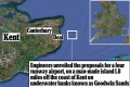 Proposed location: The airport will be built 1.8 miles off the coast of Kent on underwater banks known as Goodwin Sands