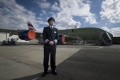 Captain James Basnett with a BA Airbus A380 outside the Final AssemblyLine, in Toulouse.<br>Picture: Geoff Pugh
