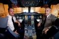 Captain James Basnett and Frank Chapman, an experimental test pilot, sit inside a test A380.<br>Picture: Geoff Pugh