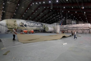 American's Boeing 77W inside the paint hangar. Image from America.