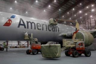 American Airlines 777 being painted in Victorville. Image from American.
