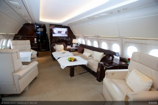 Singapore Airshow 2012 - ACJ318 cabin<br>Exhibited on static display for the first time in Singapore, the ACJ318 features an attractive interior with a lounge area and a private office / sleeping area with en-suite bathroom. Photo from Airbus