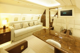 TAECO Lounge Settee in Airbus ACJ cabin mockup<br>Airbus has appointed Taikoo (Xiamen) Aircraft Engineering Company Ltd (TAECO) as its first approved cabin-outfitter in the Asia-Pacific region, expanding its range of completion centres available to corporate jet customers (March 7, 2011). Photo from Airbus
