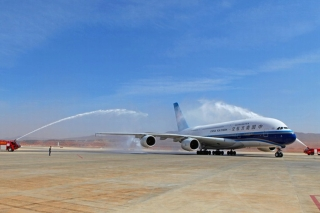 A China Southern A380 received a water cannon salute after landing at Kunming Changshui International Airport on Mar. 1, 2013