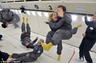 Light on their feet: Passengers on the flight paid just over £5,000 for their space