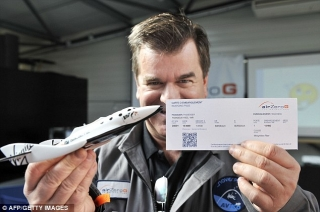 Ticket to fly: Yves Pleindoux, one of the civilian passengers of the Airbus A330 Zero-G, and his boarding pass