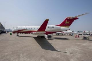 汉华航空挑战者300飞机飞抵上海 参展ABACE