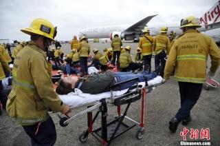 美国洛杉矶国际机场举行模拟空难应急演习