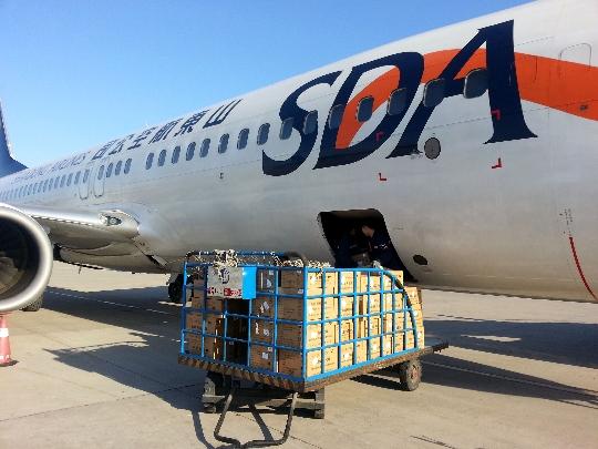 山航济南货运保障救灾物资共825件7680公斤