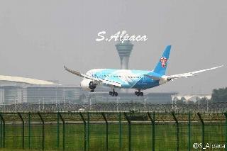 6月2日上午10:31南航订购的中国首架波音787飞抵广州白云机场。图片来自微博网友:S_Alpaca