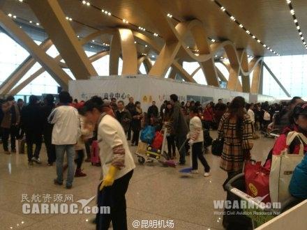 受昆明天气影响 云南多个机场航班遭取消