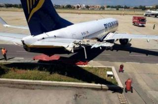 瑞安航空737滑动40米撞上仓库 平尾严重受损