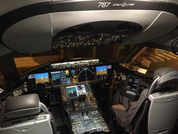 """图为787-9驾驶舱(图片来源""""新西兰天维网"""")"""