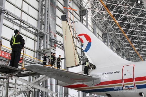 东航北京与西安协作换装A321方向舵工作完成