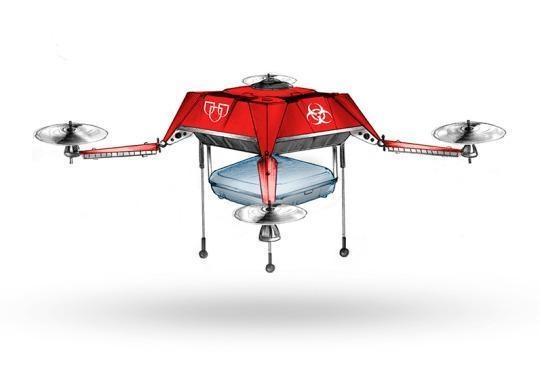 图:无人机设计图,计划使用无人机来向医院和受灾地区运送重要的医疗