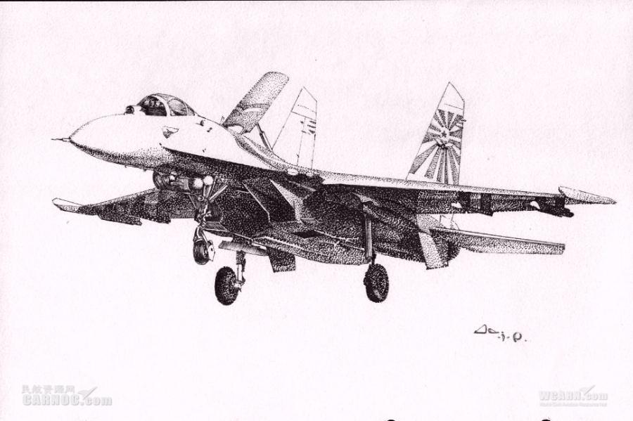 再发飞机逼真手绘图 女神的手绘飞机又来了