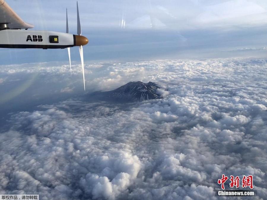 """全球最大太阳能飞机""""迫降""""日本名古屋"""