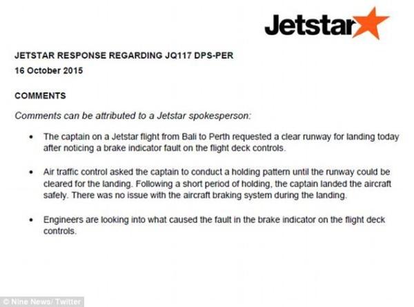 Jetstar Flight from Bali Suffers Faulty Brake Light While