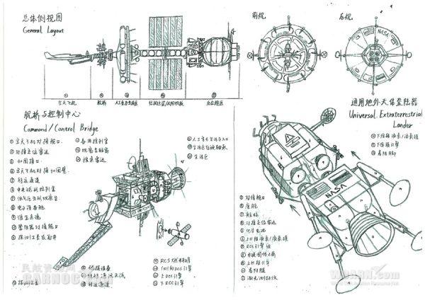 手绘航天器设计图