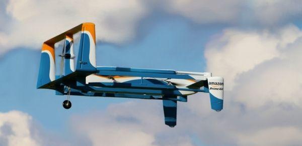亚马逊新空运无人机露真容 可垂直与水平飞行