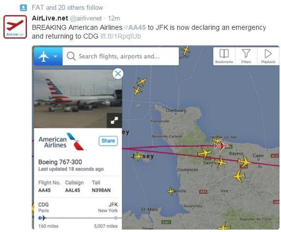 美航飞纽约航班中途返航 技术原因导致