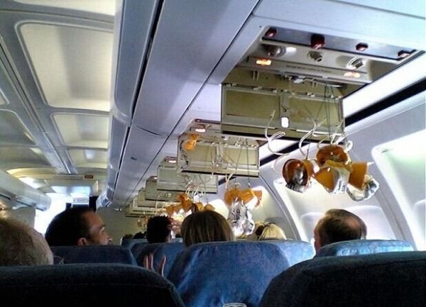 In case the aircraft pressurization drops, use the masks