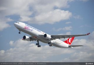 Airbus handed over an A330-300 to Turkish Airlines during a delivery ceremony in Istanbul, with the jetliner marking the carrier's 300th aircraft.
