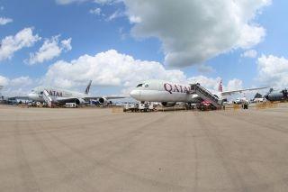 卡航派出两架空客宽体客机参加本次航展 (摄影:沈铨)