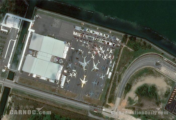 从卫星上看新加坡航展:A380大胖子清晰可见