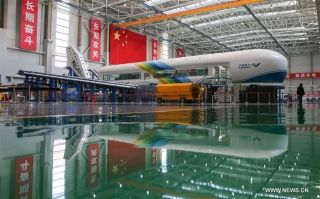 Photo taken on Feb. 29, 2016 shows a test bench for C919 plane at its research base in Shanghai Aircraft Design And Research Institute of the Commercial Aircraft Corp. of China (COMAC), in Shanghai, east China.
