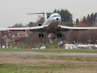 The world's first Boeing 727, which first flew in 1963, prepares to make its final landing on March 2, 2016 at Boeing Field in Seattle.  Jeremy Dwyer-Lindgren, Special for USA TODAY