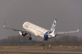 The no. 1 Pratt & Whitney-powered A321neo (new engine option) aircraft performs its maiden flight, as Airbus' NEO test fleet continues to grow.