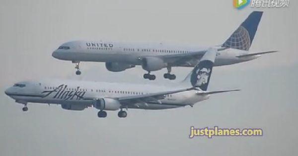 【视频】繁忙的旧金山机场 再现双机平行降落
