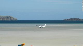 4. Barra Airport (UK) - Barra Airport in Scotland is the only airport in the world where scheduled and private charter flights land and take off from the beach. At high tide, the runways are under water, says PrivateFly.