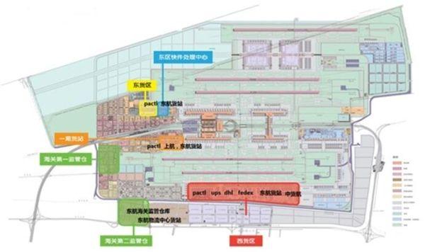 浦东机场货运设施分布图