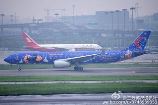 The Disney-themed plane took off from Shanghai Hongqiao International Airport on April 26. Photo from Weibo