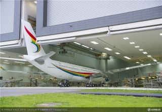The first Airbus A330 aircraft for Tibet Airlines rolled out of the Airbus paint shop in Toulouse, France