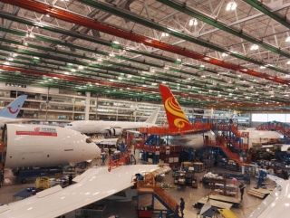 Prior to the delivery for Air China's first 787-9, Boeing offers a special tour at its 787 Final Assembly Line in North Charleston, South Carolina.