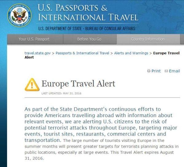 或有恐怖袭击!美国发布欧洲旅行风险警告