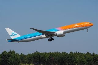 KLM Royal Dutch Airlines's orange-colored Boeing 777-300ER aircraft