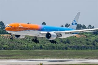 KLM Royal Dutch Airlines' unique orange-colored Boeing 777-300ER aircraft touched down in Chengdu on June 16.